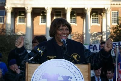 AFT-Maryland President Marietta English rallies union members in Annapolis